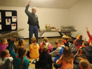 Farm Safety is always a favorite for Kids Conservation Round Up.  Greg Nemechek with Sherman County EMS teaching the kids about grain entrapment.